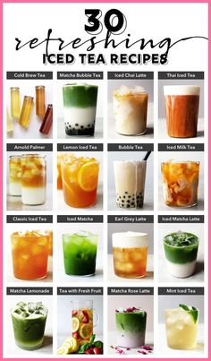 30 Refreshing Iced Tea Recipes Kick back and relax this summer with these refreshing iced teas. 30 delicious iced tea recipes you can make at home from cold brew tea to bubble tea. Milk Tea Recipes, Iced Tea Recipes, Coffee Recipes, Green Tea Recipes, Drink Recipes, Mint Iced Tea, Brewing Tea, Smoothie Drinks, Smoothies