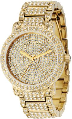 Michael Kors Crystal Gold Tone Stainless Steel Watch