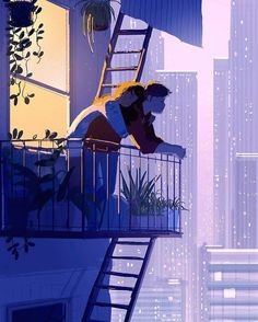 Pascal Campion is a French-American artist based in Burbank, California who creates heartwarming and soulful illustrations about every day life. Couple Amour Art, Art Love Couple, Love Art, Couple Bed, Illustration Art Nouveau, Couple Illustration, Night Illustration, Pascal Campion, Couple Drawings