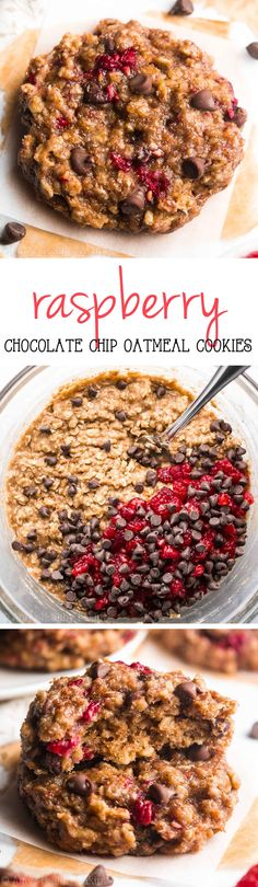 Slow Cooker: Raspberry Chocolate Chip Oatmeal Cookies