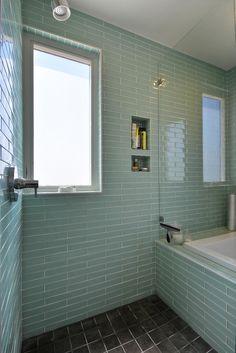 Modern Home | Modern Bathroom | Master Bath | Glass Subway Tile | Glass Shower | Open Shower | Elevated Ceilings | Mueller Homes Austin Texas | Mueller Development | Tilley ST Row Homes, www.muellersilentmarket.com