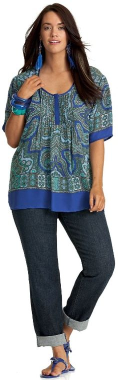 Shortkat Pinterest : INTO THE BLUE PAISLEY TOP - Tops - My Size, Plus Sized Women's Fashion & Clothing
