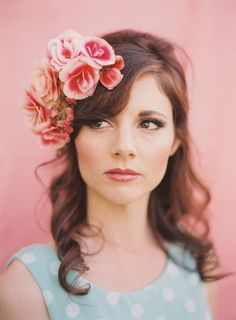 Wedding Chicks feature beautiful floral head pieces by Adornments Flowers and Finery. Photos by Michelle Warren Photography #floralheadpiece #floralcrowns #wedding #weddingfloral #inspirationshoot #mwfoto #adornments #casshouse #rhyantownsend #bridalmakeup #bridal #flowergirls