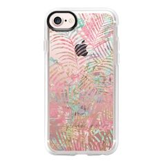 Tropical pink teal watercolor faux gold floral - iPhone 7 Case And... ($40) ❤ liked on Polyvore featuring accessories, tech accessories, phone cases, iphone case, apple iphone case, floral iphone case, clear iphone case, iphone cover case and pink iphone case