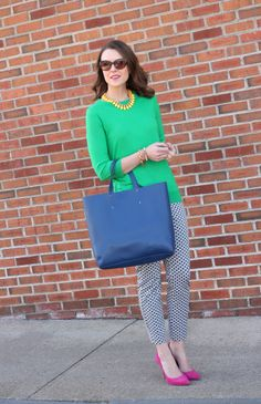 Green & Pink with Navy and White patterned pants | | Penny Pincher Fashion