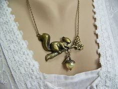 Squirrel Necklace Oak Branch Pearl Acorn  by CreatedinTheWoods, $25.95