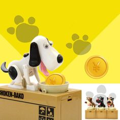in stock   Dog Puppy Hungry Bank Coin Eating Save Saving Canine Money Box  dog toy Christmas gift