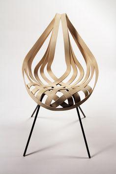 Saji Chair by Laura Kishimoto. Ash Veneer, mild steel. Fall 2012