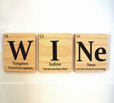 Periodic table of elements WINE wooden tile wall by 15tangerines