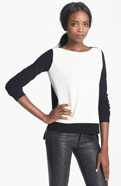 autumn cashmere Layered Two Tone Cashmere Sweater available at #Nordstrom