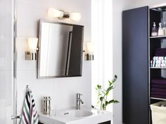 Brighten up your bathroom morning routine with SÄVERN wall lamps.