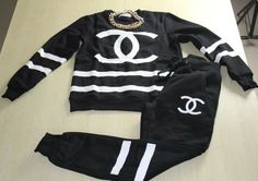chanel black tracksuit via Luxury store. Click on the image to see more!
