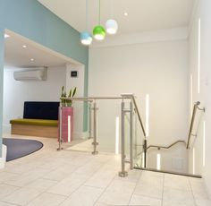 Office stairwell in HomeLets of Bath. Design created by interior design company Interaction, Bath, UK.
