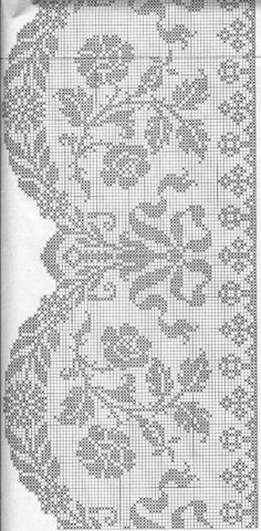 Knitted curtain, lace, patterns, knitting with . Crochet Curtain Pattern, Crochet Mat, Crochet Curtains, Crochet Doily Patterns, Granny Square Crochet Pattern, Crochet Borders, Crochet Cross, Thread Crochet, Crochet Doilies