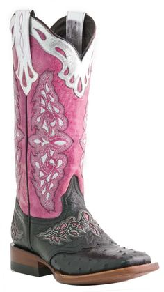 #Lucchese Style M5800, Women's: Full Quill Ostrich #Boot with Horseman Saddle Vamp, Sweetwater Stitch in Black/Pink.