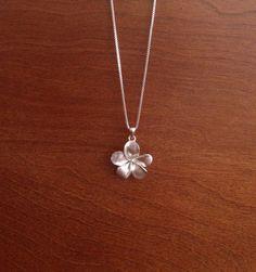 Sterling Silver Plumeria Flower Necklace by saveitforarainyday, $24.99
