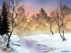 Peaceful Landscape Paintings by Bob Ross - Bob Ross Landscape Paintings : Winter Stillness 18 Watercolor Landscape, Landscape Art, Landscape Paintings, The Joy Of Painting, Modern Oil Painting, Bob Ross Paintings, Paintings I Love, Oil Paintings, Pinturas Bob Ross