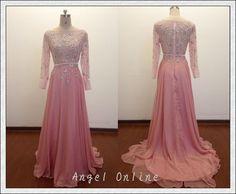 Long Sleeves Evening Dress Pink Evening Dress by Angelonlinedress