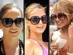 The oversized/Jackie O sunglasses. Thanks to the Olsen twins and Nicole Richie (and other tiny people), this was a 2005 staple. Jackie O Sunglasses, Blue Aviator Sunglasses, Oversized Round Sunglasses, Big Sunglasses, Trending Sunglasses, Sunglasses Women, Christian Dior Sunglasses, Nicole Richie, Paris Hilton