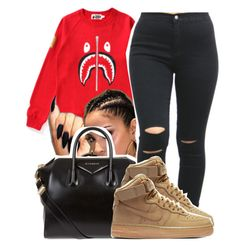 Untitled #1338 by ashley-mundoe ❤ liked on Polyvore featuring A BATHING APE, Givenchy and NIKE