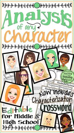 This 4-page handout is an effective print-and-go option for character analysis. Eye-catching design and graphic organizers along with creative questioning makes it an interesting and engaging write-to-learn activity for your students. Keep on hand for when you need a lesson on characterization. Also includes an uneditable crossword puzzle on basic characterization terminology (dynamic, static, foil, round, flat, etc.). Great to use for a sub, as well!