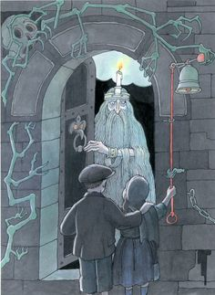 """Illustration by Tomi Ungerer for """"Der Nebelmann"""" / """"Fog Island"""""""