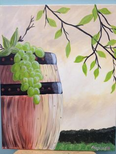 I think we can do this for Sisters Weekend after our grape stomping Wine Painting, Easy Canvas Painting, Simple Acrylic Paintings, Spring Painting, Paintings I Love, Beautiful Paintings, Canvas Art, Painting Trees, Canvas Paintings