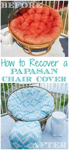 Such a great tutorial on how to recover a papasan chair cover - makeover your old papasan chair cover easily