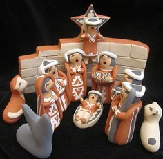 Judy Toya Jemez Pueblo pottery Nativity - 11 pieces - including wall with angel