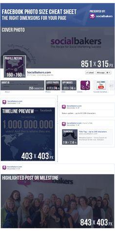 The Facebook Photo Size Cheat Sheet | Social Media Statistics & Metrics | Socialbakers #SocialMedia #Facebook