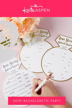 Bring on the fun and laughter with this mad lib like game. Your guests will love being creative and adding to a story worth retelling for years to come! | White Bridal Shower Game Card with Gold Foil- Ring Shape | Kate Aspen Kate Aspen, White Bridal Shower, Flip Cards, Ring Shapes, Gold Foil Print, Bachelorette Parties, Retelling, Bridal Shower Games, Celebrity Weddings