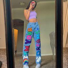 Moda Streetwear, Streetwear Jeans, Streetwear Fashion, Tomboy Fashion, Indie Fashion, Fashion Pants, Fashion Outfits, Retro Fashion 90s, Style Fashion