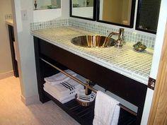 Attractive Bathroom Decor Vanity Glass Tile Counter Top