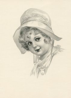 Vintage Chubby Cheek Girl in Bonnet Image