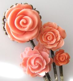 Peach Rose Bobby Pins
