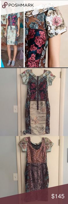 """NWT. Byron Lars brocade dress Popular dress with pieced patterns. Lovely slimming silhouette. 39"""" in length. Zipper front. Stunning Anthropologie Dresses"""