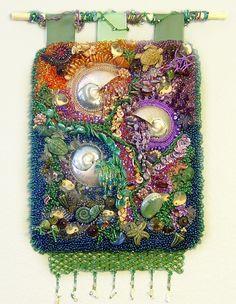 OCEANA  Raised Texture Beaded Wall Tapestry by MixedMediaArtistry, $12000.00