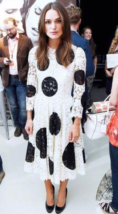Keira Knightley pulls off large polka-dot print in Dolce & Gabbana lace dress. // #Celebrity #BlackAndWhite