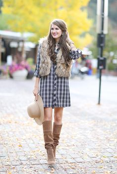 Isn't this the cutest plaid dress look? How To Wear the Fall Plaid Dress Trend http://www.modlychic.com/2016/10/wear-fall-plaid-dress-trend.html