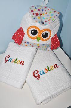 noel Box cadeau: serviette +drap de douche+sac à dos chouette personnalisées brodée pour naissance,anniversaire,noel : Sacs enfants par lbm-creation