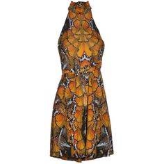 Preowned Alexander Mcqueen  Silk Butterfly Dress Ss 2011 ($750) ❤ liked on Polyvore featuring dresses, multiple, halter neck summer dresses, brown dress, halter top, summer dresses and alexander mcqueen dresses