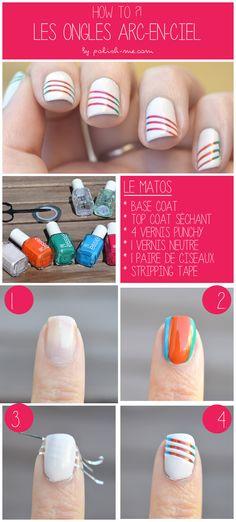 Tutoriel Nail Art - Des ongles arc-en-ciel pour l'été   Polish Me #NailArt #Summer #Essie #Rainbow