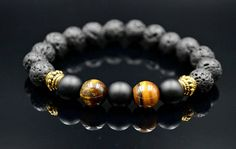 Lava Stone & Tiger's Eye Bracelet Men's Gemstone Gemstone Bracelets, Handmade Bracelets, Bracelets For Men, Gemstone Beads, Tiger Eye Bracelet, Tiger Eye Beads, Metal Beads, Stretch Bracelets, Lava