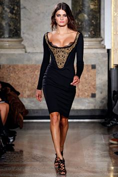 Emilio Pucci black and gold lace modern corset dress.