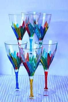 Authentic Murano Colorful Line Wine Glasses (Set Of 6). #MuranoGlass #glass #glassforsale #BarDecoration #Murano #WeddingGift #TableDecoration #ItalianGlass