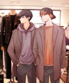 Older Hinata and Kageyama. Ha, Hinata's taller than Kags now. :P < Pretty sure it's Oikawa Tooru and Kageyama Tobio here