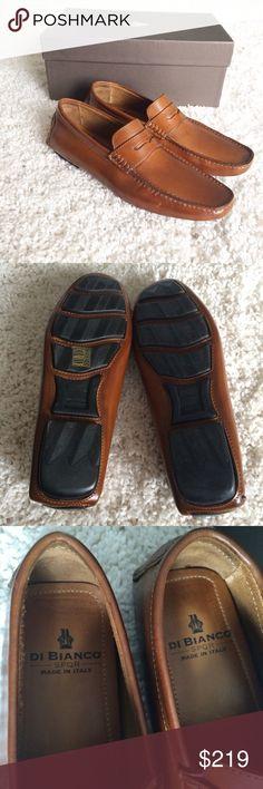 "Di Bianco [men's] Felice Tan leather Driving Shoes Brand new in box. Tan brown leather driving shoes. Made in Italy. ""Felice"".  Size 9 Di Bianco Shoes Loafers & Slip-Ons"