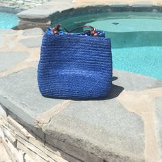 Bucket purse Adorable blue wicker bucket purse in good used condition Sonoma Bags