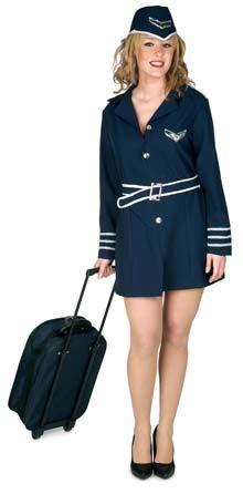 DisfracesMimo, disfraz de azafata de vuelo mujer adulto. es un precioso traje de color azul oscuro. Con este disfraz de azafata mujer seras la mas original y divertida,Este disfraz es ideal para tus fiestas temáticas de disfraces de pilotos y azafatas, uniformes de trabajo para mujer adultos.