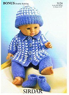 Pink Outfits For 14Inch DOLL In 4 Ply. D7 Knitting Pattern For Dolls Blue